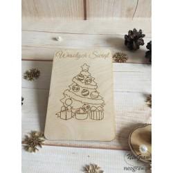 Drewniana kartka świąteczna