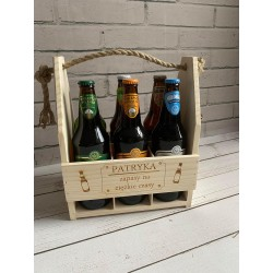 drewniane nosidło na piwo