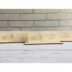 Drewniane winietki ślubne na stół i kieliszki | Neograw