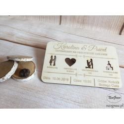 Drewniane zaproszenia ślubne z grawerem | Neograw