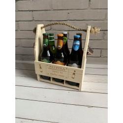 Drewniane nosidło na piwo z grawerem | Neograw